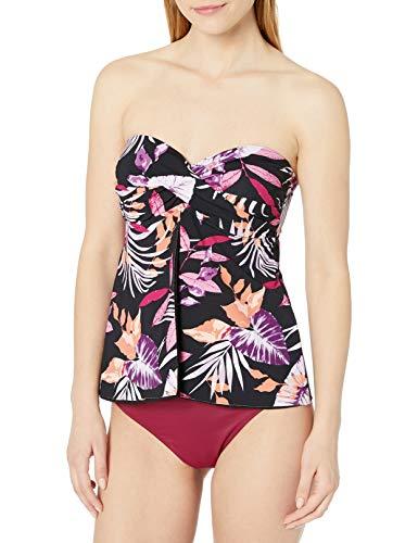 24th & Ocean Women's Plus Size Flyaway Front Bandeau Tankini Swimsuit Top, Orchid//Jungle Tropic, 18W