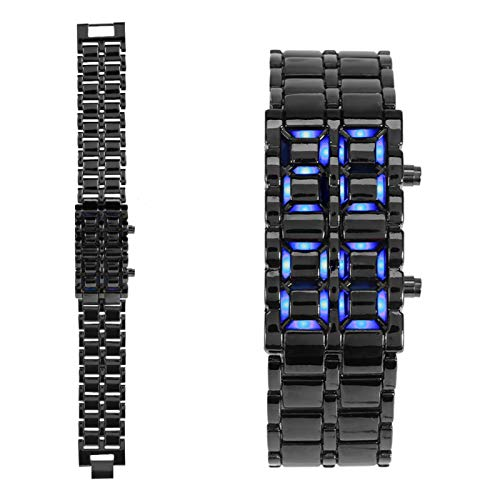 Reloj de pulsera electrónico con correa de acero y iluminación LED, para mujer