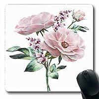 マウスパッドブロッサム水彩画花花の花自然のパステルローズ葉芽葉ブルーム楕円形7.9 X 9.5インチ楕円形ゲーミングマウスパッド滑り止めマウスマット 18x22cm