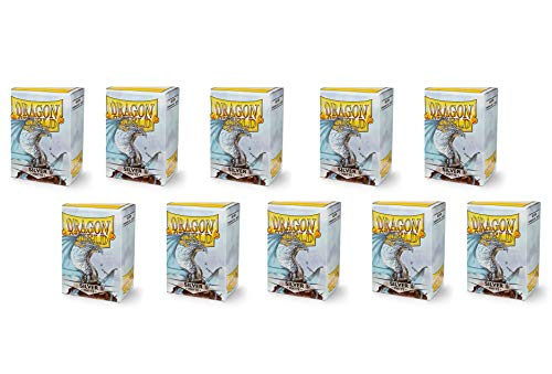 10 Packs Dragon Shield Matte Silver Standard Size 100 ct Card Sleeves Display Case