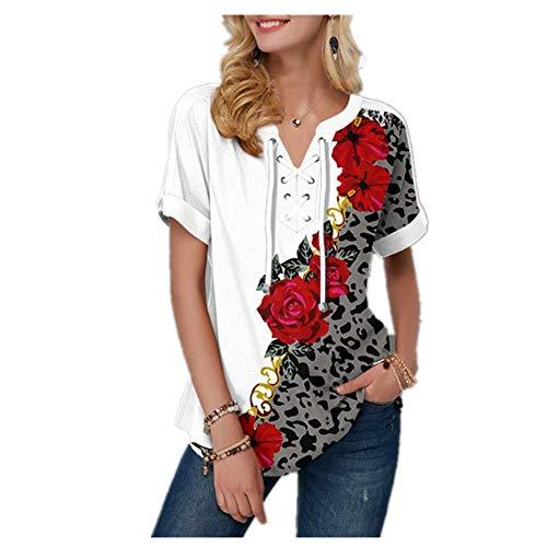 N\P Ropa de mujer de manga corta camisetas de impresión de flores vendaje con cuello en v verano camiseta suelta casual señora camiseta - - 2X-Large