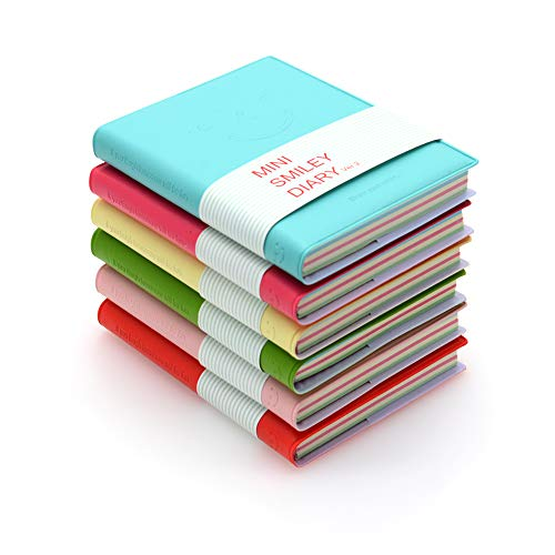 QUMENEY 6 blocs de bolsillo, súper mini portátil Smiley Diary blocs de notas con funda de piel sintética, páginas en blanco fáciles de quitar, 10,5 x 8 cm, 100 hojas (6 colores)