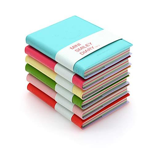 QUMENEY 6 Stück Taschen-Notizbücher, super Mini, tragbares Smiley-Tagebuch, Notizblöcke mit PU-Lederhülle, Blanko-Seiten, leicht abreißbar, 10,5 x 8 cm, 100 Blatt (6 Farben)