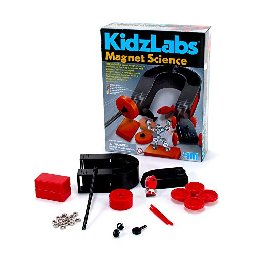 4M Magnet Science Kit - 10 Magnetic Experiments & Games (over 25 pieces to Build & STEM Learn From) - Power the Racer with a Magnet, Levitate a Magnet, Magnetic Yacht & Fishing, Boys & Girls, Age 8+