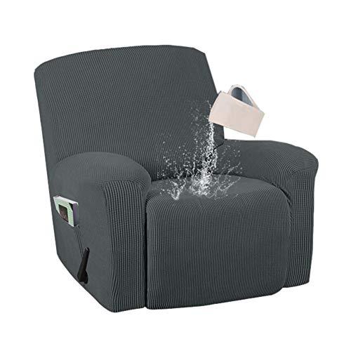 SYLC 4 fundas reclinables con bolsillo, fundas elásticas de tartán e impermeables para sofá reclinables con parte inferior elástica, funda de silla de masaje con calor (gris)