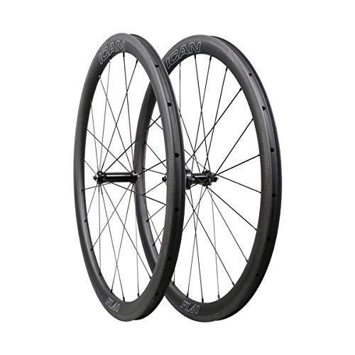 ICAN 40mm Ruedas de Carbono Remachador Tubeless Listo Bici Carretera Ruedas 20/24 Agujeros Shimano
