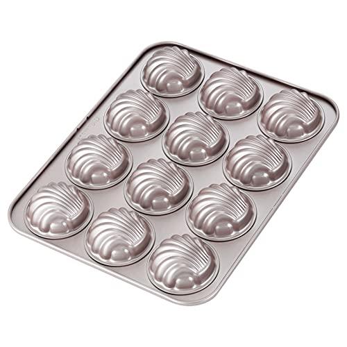 CHEFMADE Madeleine Mold Kuchen Pan, 12-hohlraum Nicht-Stick Sphärische Shell Madeline Backformen für Ofen Backen (Champagne Gold)