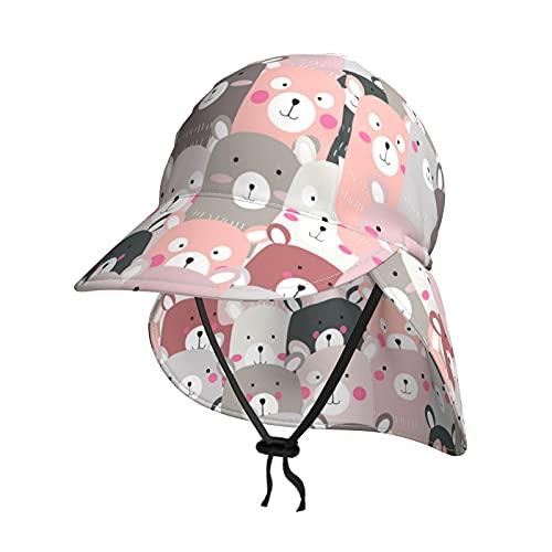 Baby Sonnenhut Lovely Bear Summer Flap Cover Cap für Kleinkind Jungen Mädchen Sonnenschutz Sportlich Hut Gr. 0-18 Monate, Schwarz