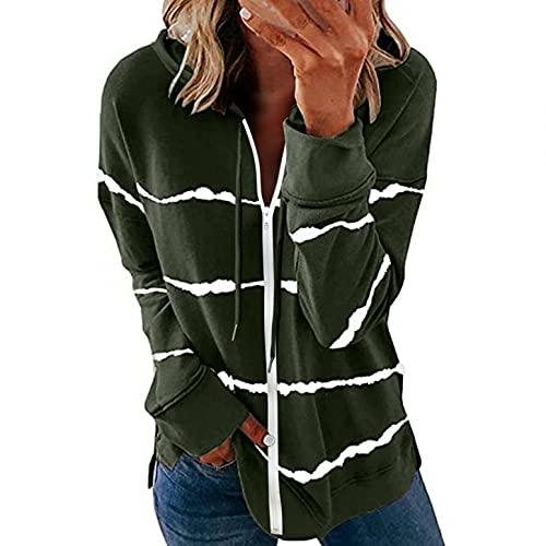 LIEIKIC Sudadera con capucha para mujer, con cierre de cremallera, manga larga, con capucha, a rayas, para otoño e invierno, Verde militar., 38