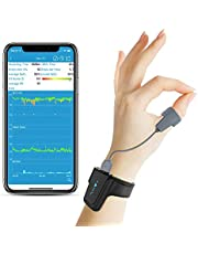 Oxygen Saturaion Monitor Bluetooth met vibratie voor 's nachts zuurstofverzadigingsniveau (SpO2), hartslag, slaap Zuurstofmonitor voor slaapapneu met apprapport van 10 uur
