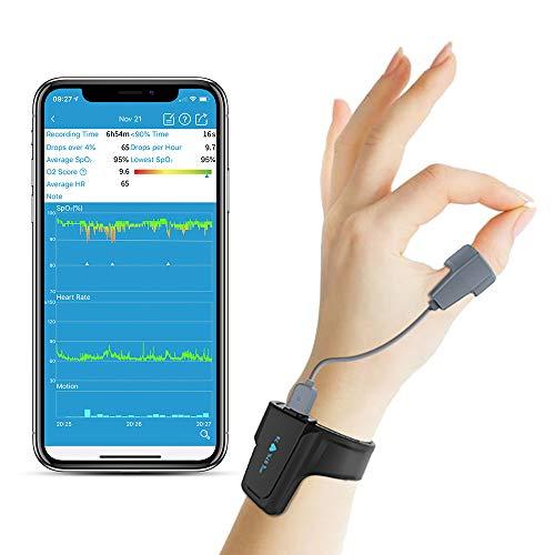 Sleep Oxygen Monitor mit Vibration Alarm für Schnarchen und Schlafapnoe, Bluetooth Handgelenk Pulsoximeter Nachverfolgung SpO2 über Nacht, Anti-Schnarch Partner für CPAP Maschine