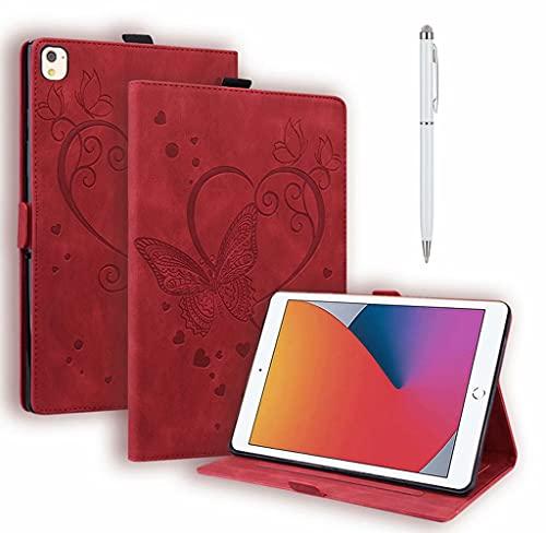 DYGG Compatible con Funda Apple iPad 5th/6th.iPad Air 1.iPad Air 2.Apple iPad 9.7 Inch 2017/2018.iPad Pro 9.7-Inch Carcasa con lápiz táctil Auto-Sueño/Estela,Rojo