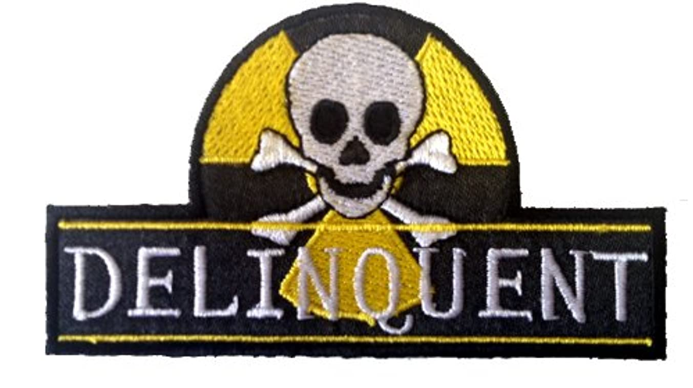 Novelty Skull Iron On Patch - Delinquent Skull Crossbones w/ Radioactive Logo Applique