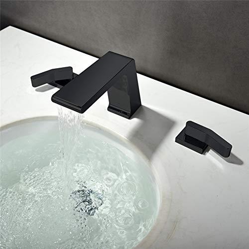 Yd&h Badkamer Mixer Tap, Waterval 3 Gat 2 Handgrepen RVS Badkamer Basin Tap Badkuip Tap Zwart Spray Verf 3-delige Basin Mixer Warm en Koud Kraan Badkamer