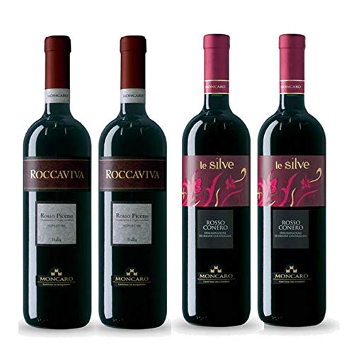 Offerta Assaggio set 4x Vini Rossi Cantina Moncaro, 2x Rosso Piceno Roccaviva, 2x Rosso Conero Le Silve, prodotto tipico marchigiano, Italy
