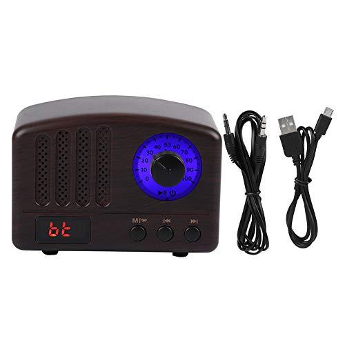 Zerone Retro Enceinte Bluetooth 5 Pouces Bluetooth CSR 4.0 Basse Grave 1800 mAh Radio FM USB avec Microphone