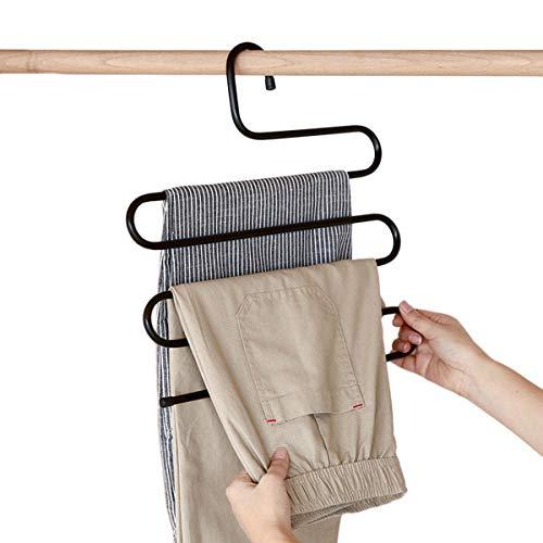 huntf Oro 5Unidades Perchas Percha para Pantalones S Forma de Closet Organizar almacenar Acero Inoxidable Economizador de Espacio para Corbata–Pantalones Toalla Ropa