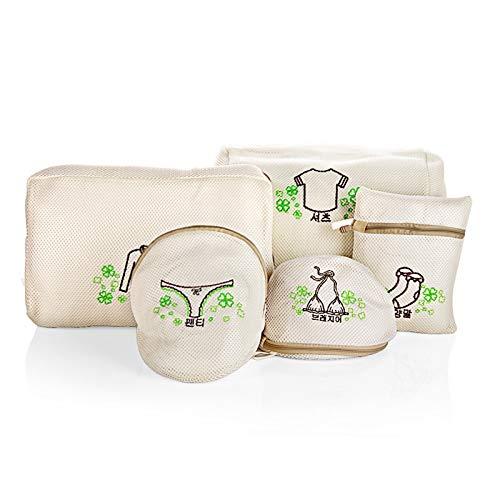 Appeso a Parete Macrame 5pcs / Set Ispessimento Lavatrice Biancheria Intima Wash Bag Ricamo Materiale di Nylon Zipper Lavanderia Bag Abbigliamento di Protezione Rubinetto