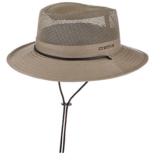 Stetson Sombrero Safari Takani Mujer/Hombre - de Trekking arbusto Malla con Tira para el mentón Verano/Invierno - XL (60-61 cm) Beige