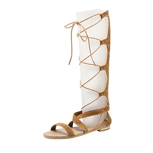 YOUJIA Damen Ausgeschnitten Kniehoch Gladiator Sandalen Flach Schnürschuhe Riemchen Sommerschuhe (#4 Gelb, EU 36)