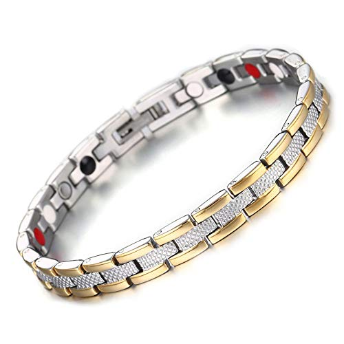 Multi kleuren magneet roestvrij stalen armband, titanium staal gezonde energie armband, unisex model, senior mannen cadeau gouden