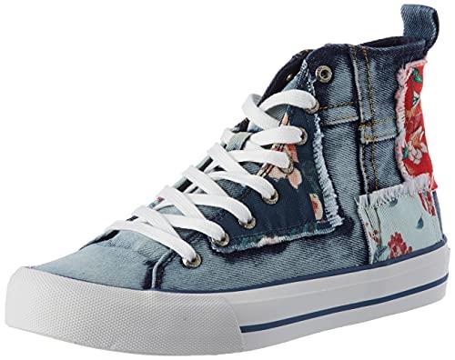 Desigual Shoes_Beta_Denim Patch, Zapatillas Mujer, Azul, 39 EU