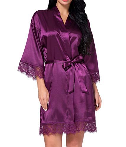 DELEY Mujeres Albornoz Kimono Satén Seda Ropa de Dormir Bata Elegantes Camisón Robe Dama de Honor Pijama Morado Tamaño M
