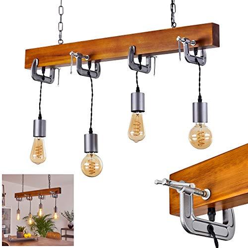 Lámpara colgante Hautahi, 4 focos, alargada, de metal en color gris y madera oscura, estilo vintage/industrial, para habitación, 4 bombillas E27, máx. 60 W, apta para bombillas LED