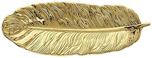 KKGUD Bandeja de cerámica para servir postres, aperitivos, joyas, diseño de plumas doradas (25,4 cm)