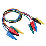 Akozon Banana Plug Kabel, 5pcs Elektronische Test Leads Kit P1050-1 4mm Bananenstecker Sicherheit Soft Silicone Wire Stack Prüfkabel 14AWG Verlängerungskabel Multimeter Test kabel set