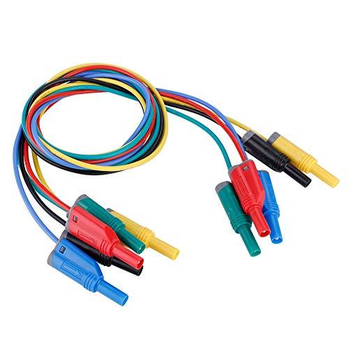 Akozon Banana Plug Kabel, 5pcs Elektronische Test Leads Kit P1050-1 4mm Bananenstecker Sicherheit Soft Silicone Wire Stack Prüfkabel 14AWG Verlängerungskabel Multimeter Test kabel set