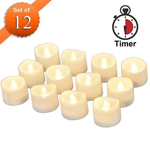 Flackernden LED Kerzen mit Timerfunktion, Meiso 12 Stück led teelichter mit timer, 6 Stunden an und 18 Stunden aus, elektrische flackernde batteriebetriebene kerzen, Warmes weißes Licht