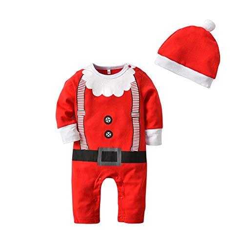Ansemen Baby Santa Claus Homewear + Chapeau Costume - Noël Enfant Modèle Barboteuse Enfant Vêtements de Nuit Coton Combis Enfants Pyjamas Enfants 1 T - 3 T