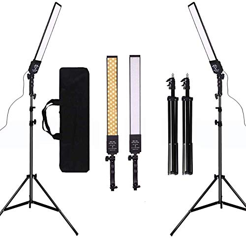 GSKAIWEN Dimmbar Bi-Color LED Videoleuchte 2er Set mit Stativ Tragtasche Fotografie Lichtset für Kamera Video YouTube Produkt Fotografie Shooting,376 LED Perlen, 3200-5500K,CRI 96+