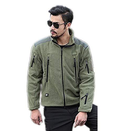 QKDSA Herren Fleece Jacke Dicke Warme Stehkragen Durchgehender Reißverschluss Multi-Pocket Bergsteigerjacke Softshell-Jackes M-4XL 7 Taschen (Color : Green, Size : XL)