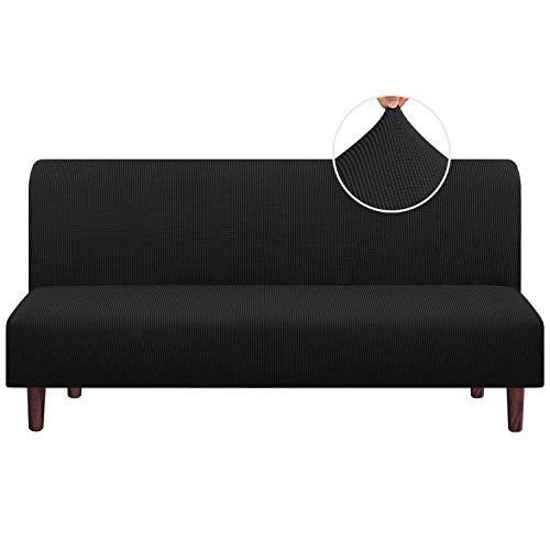 Stretch Armless Futon Cover Futon Slipcover Full Queen Size Futon Couch Cover Futon Sofa Cover Futon Bed Cover Furniture Protector with Elastic Bottom, Checked Pattern Jacquard (Futon, Black)