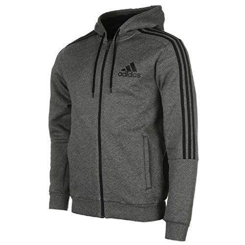 adidas Herren Essentials 3-Streifen Logo Full Zip Hoodie, Dgreyh/Black, L