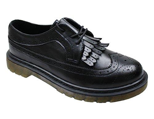 AK collezioni Scarpe francesine uomo nero frangia calzature sneakers casual nuove con scatolo (44, nero)