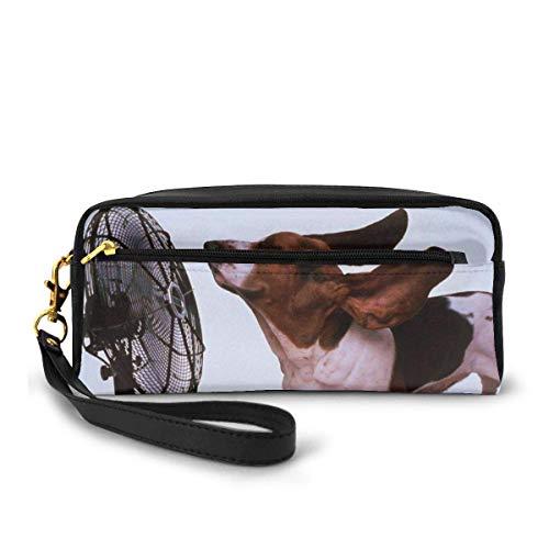 Kosmetische Hülle Organizer Tragbare Aufbewahrungstasche mit Reißverschluss für Reise Make-up Bleistift Hülle Stifttasche Hunde mit elektrischen Ventilatoren