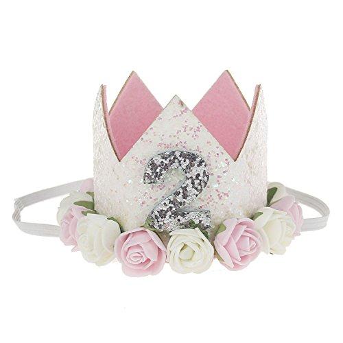 COUXILY 1 Stk Geburtstag - krone Stirnbänder Baby Birthday Tiara Mädchen Glänzend Krone Geschenksets Haarband (FS02)