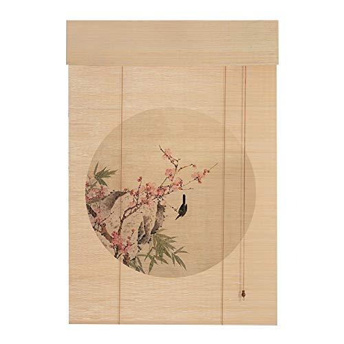 ZEMIN Bambus Raffrollo Bambusrollo Fenster Atmungsaktiv Aussicht Drucken Vorhang Brandschutz Ländlich, 3 Muster, Mehrere Größen Kann Angepasst Werden (Color : B, Size : 85x185cm)