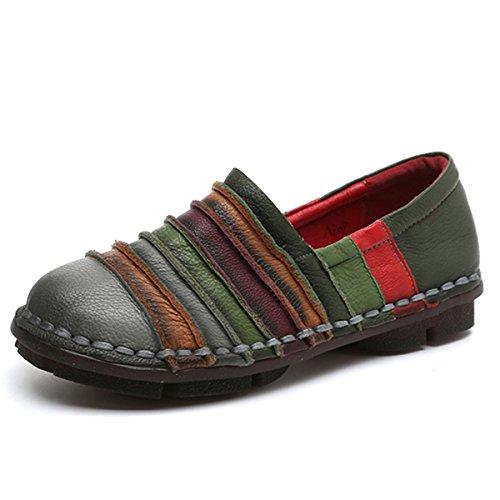 Socofy Mokassins - Zapatillas de Piel para Mujer, Planas, Multicolor, Antideslizantes, cómodas, Multiusos, para Primavera y Verano