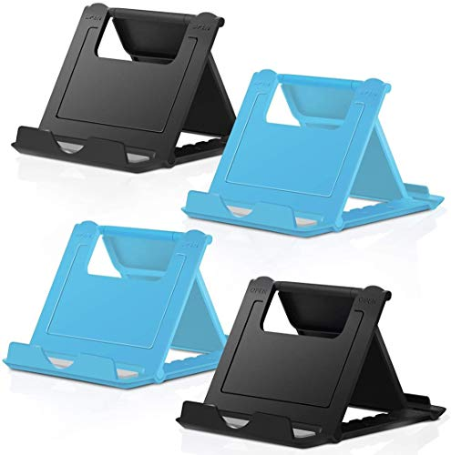 COOLOO Adjustable Cell Phone Stand for Desk, 4 Pack Smartphone Tablet Stand, Universal Foldable Multi-Angle Pocket Desktop Mobile Phone Holder