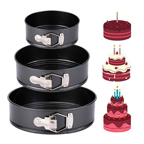 Ladsen Non-stick Springform Pan, Cheesecake Pan, Cake Pans sets for Baking, Leakproof Baking set - Removable Bottom, 3pcs (4', 7', 9')