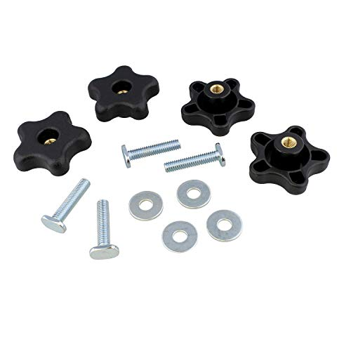 DCT 5 Star Knobs Kit 5/16in-18 Threaded Knob, Bolt with Knob, Clamping Knob Jig Knobs T Track Knobs and Bolts 4-Pack