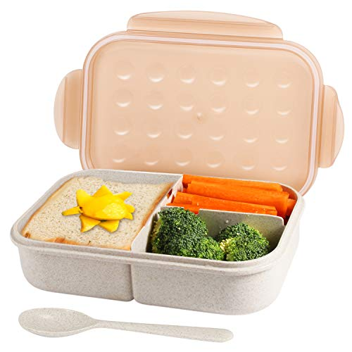 Bento Box for Kids & Adults, Leakproof Meal Prep Containers Lunch Box, Reusable 3-Compartment Wheat Fiber Divided Food Storage Container Box