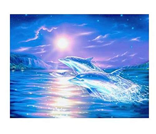 DIY 5D Diamond Painting by Number Kits Dolphin Round Drill,50x40cm Adults and Kids Full Drill Crystal Resin Rhinestone Embroidery Cross Stitch Pictures Arts Craft Canvas for Home Wall Decor Y4700