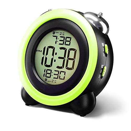 Manfore - Despertador digital para niños con doble alarma, luz nocturna, lámpara de mesita noche, snooze, despertador, función repetición alarma y colores claros, noche o dormitorio