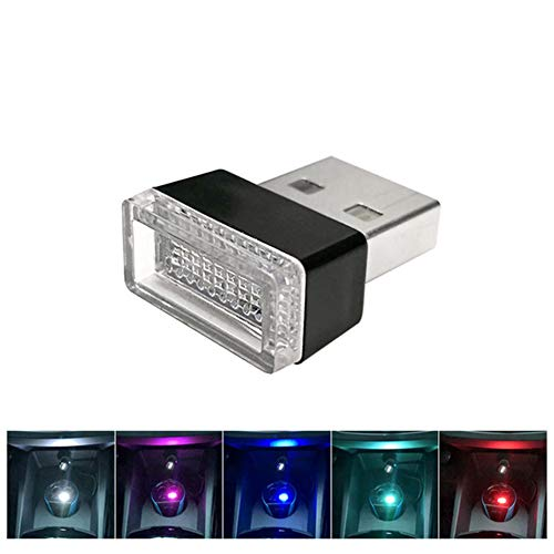 haodene USB Licht für Auto Innenbeleuchtung Atmosphäre Licht auf USB-Schnittsstelle adaptiert von Zigarettenanzünder Universal Heim Schreibtisch Laptop Plug and Play Blau 1 Stück