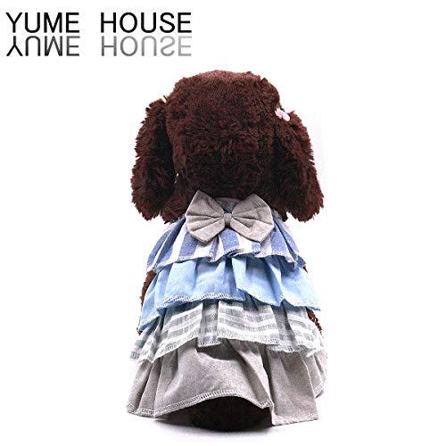 犬服 犬の服ワンピース 夏Tシャツ可愛いドッグウェア夏用 中小型犬スカート S~Lサイズ (S, ブルー)
